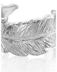 Leivan Kash | Metallic Silver Feather Open Ring | Lyst
