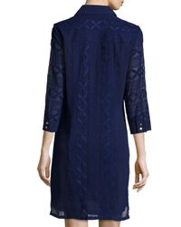 Laundry by Shelli Segal - Blue 3/4-sleeve Embroidered Shirtdress - Lyst