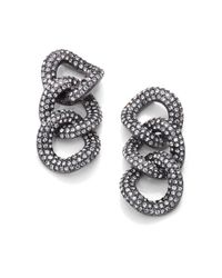 Adriana Orsini | Metallic Pave Crystal Chain Link Drop Earringsgunmetal | Lyst
