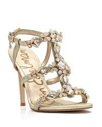 Sam Edelman Metallic Selena Jeweled Sandals - Jute