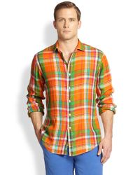 Polo Ralph Lauren | Blue Plaid Linen Estate Sportshirt for Men | Lyst