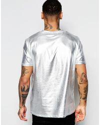 ASOS T-shirt In Metallic Silver for men
