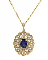 Effy | Blue 14K Yellow Gold Sapphire And Diamond Pendant Necklace | Lyst
