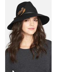 Hinge Black Feather Trim Panama Hat