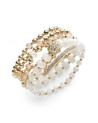 INC International Concepts | Metallic Gold-tone Bead And Crystal Five-row Stretch Bracelet | Lyst