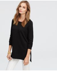 Ann Taylor - Black Boatneck Tunic Sweater - Lyst