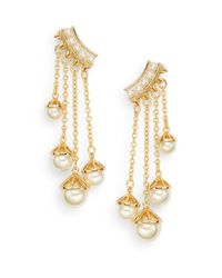 Rebecca Minkoff | Metallic Pearl Affair 12k Goldplated Chain Drop Earrings | Lyst