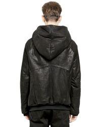 Julius Black Hooded Nubuck Lamb Leather Jacket for men