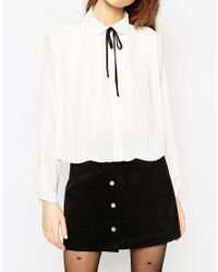 ASOS | White Pleat Front Blouse With Contrast Tie | Lyst
