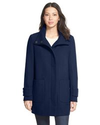 Kenneth Cole Blue Stand Collar Wool Blend Twill Coat