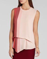 BCBGMAXAZRIA Pink Top - Brea Color Block Draped