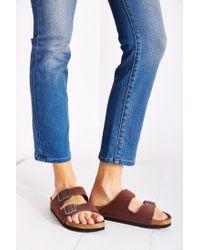 Birkenstock - Brown Arizona Nubuck Soft Footbed Slide Sandal - Lyst