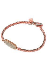 Brooke Gregson Gray Mid Grey Labradorite And Silk Button Bracelet