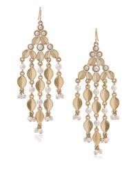 Carolee Metallic Oyster Bay White Faux Pearl Chandelier Earrings
