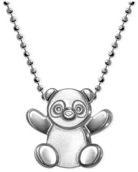 Alex Woo Metallic Little Cities By Panda Pendant Necklace In Sterling Silver