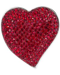Carolee - Silver-tone Red Crystal Heart Pin - Lyst