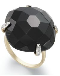Macy's | Metallic 14k Gold Ring, Onyx And Diamond Accent Dome Ring (29 Ct. T.w.) | Lyst