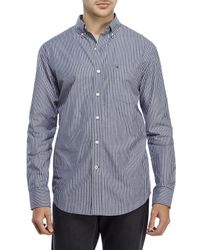 Izod - Blue Stripe Patch Pocket Sport Shirt for Men - Lyst