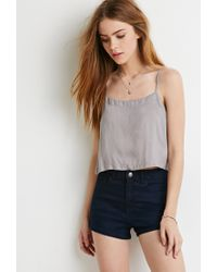 Forever 21 - Gray Vented-back Crop Top You've Been Added To The Waitlist - Lyst