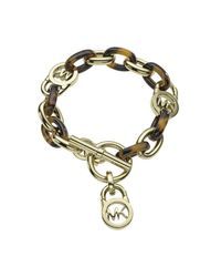Michael Kors - Metallic Heritage Gold And Tort Chain Bracelet - Lyst