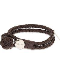 Bottega Veneta - Brown Double Woven Leather Bracelet - For Women - Lyst