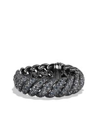 David Yurman - Hampton Cable Bracelet with Gray Diamonds and Blue Sapphires - Lyst