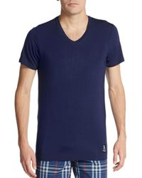 Psycho Bunny - Blue Stretch-modal V-neck Lounge Tee for Men - Lyst