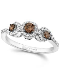 Le Vian | White And Chocolate Diamond 3-stone Ring (1/2 Ct. T.w.) In 14k White Gold | Lyst