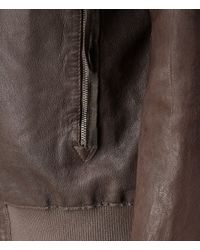 AllSaints Brown Langly Leather Bomber Jacket for men