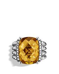David Yurman Metallic Wheaton Ring With Lemon Citrine And Diamonds