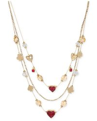 Betsey Johnson - Pink Gold-Tone Pavé Card Suit Illusion Necklace - Lyst