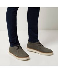 River Island - Gray Grey Nubuck Leather Boots for Men - Lyst
