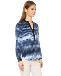 Vince - Blue Printed Tie Dye Blouse - Lyst