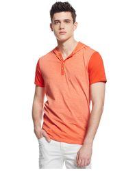 Guess - Orange Becklin Hooded Henley T-shirt for Men - Lyst