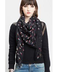 Saint Laurent - Red Lipstick Print Wool Scarf - Lyst