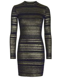 TOPSHOP - Blue Striped High Neck Bodycon Dress - Lyst