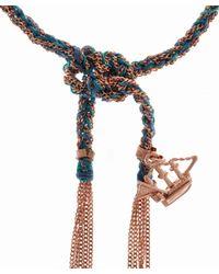 Carolina Bucci Blue Silk And Rose Gold Liberty Ship Bracelet
