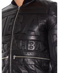 Hood By Air Black Hockey Logo-Embossed Leather Jacket for men
