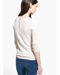 Mango - Natural Embossed Polka-Dot Sweater - Lyst