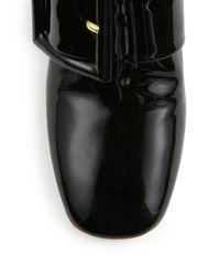 Miu Miu - Black Patent Leather Buckled Booties - Lyst