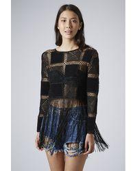 TOPSHOP Black Crochet Patch Fringe Top