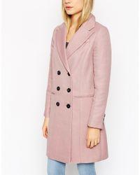ASOS - Gray Coat In Longline Twill - Lyst