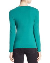 Lord & Taylor | Green Petite Stretch-cotton Crewneck Tee | Lyst