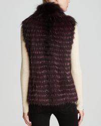 Maximilian Purple Feathered Fox Fur Vest With Drawstring Waist