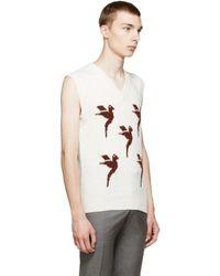 Raf Simons White Ivory Intarsia V_neck Vest for men