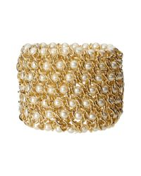 Kenneth Jay Lane - Metallic Gold-plated Mesh Bracelet With Simulated Pearls - Lyst