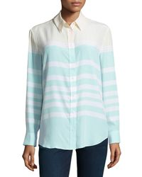 Equipment - Green Reese Clean Colorblock Striped Silk Blouse - Lyst