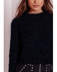 Missguided | Chunky Knit Cropped Jumper Blue | Lyst