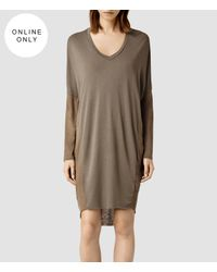AllSaints | Brown Hale Dress | Lyst