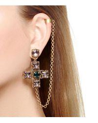 Tory Burch Metallic Jeweled Drop Earring Cuff
